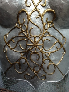 Scrollwork created with glue gun