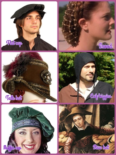 Chart showcasing the various headdress and hat styles from the Renaissance era
