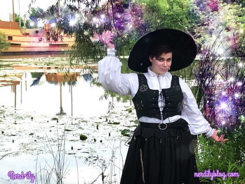 Mickey of Nerdily dressed in witch costume at Renaissance Faire.