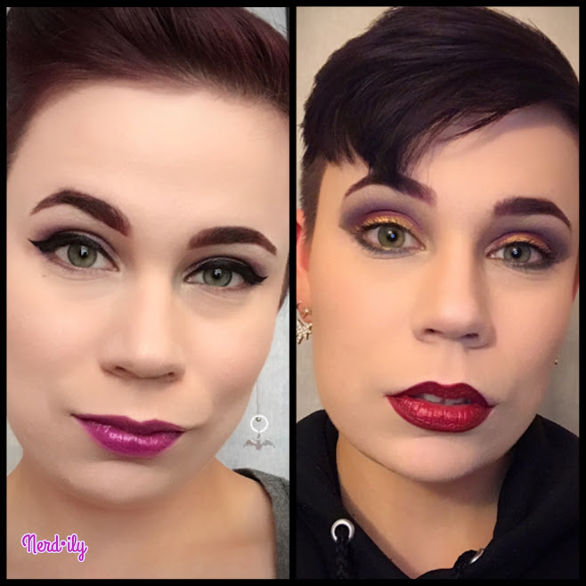 Side-by-side image of two different makeup looks.