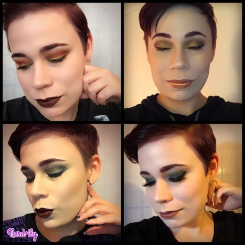 Four Harry Potter-inspired makeup looks with eyes closed.