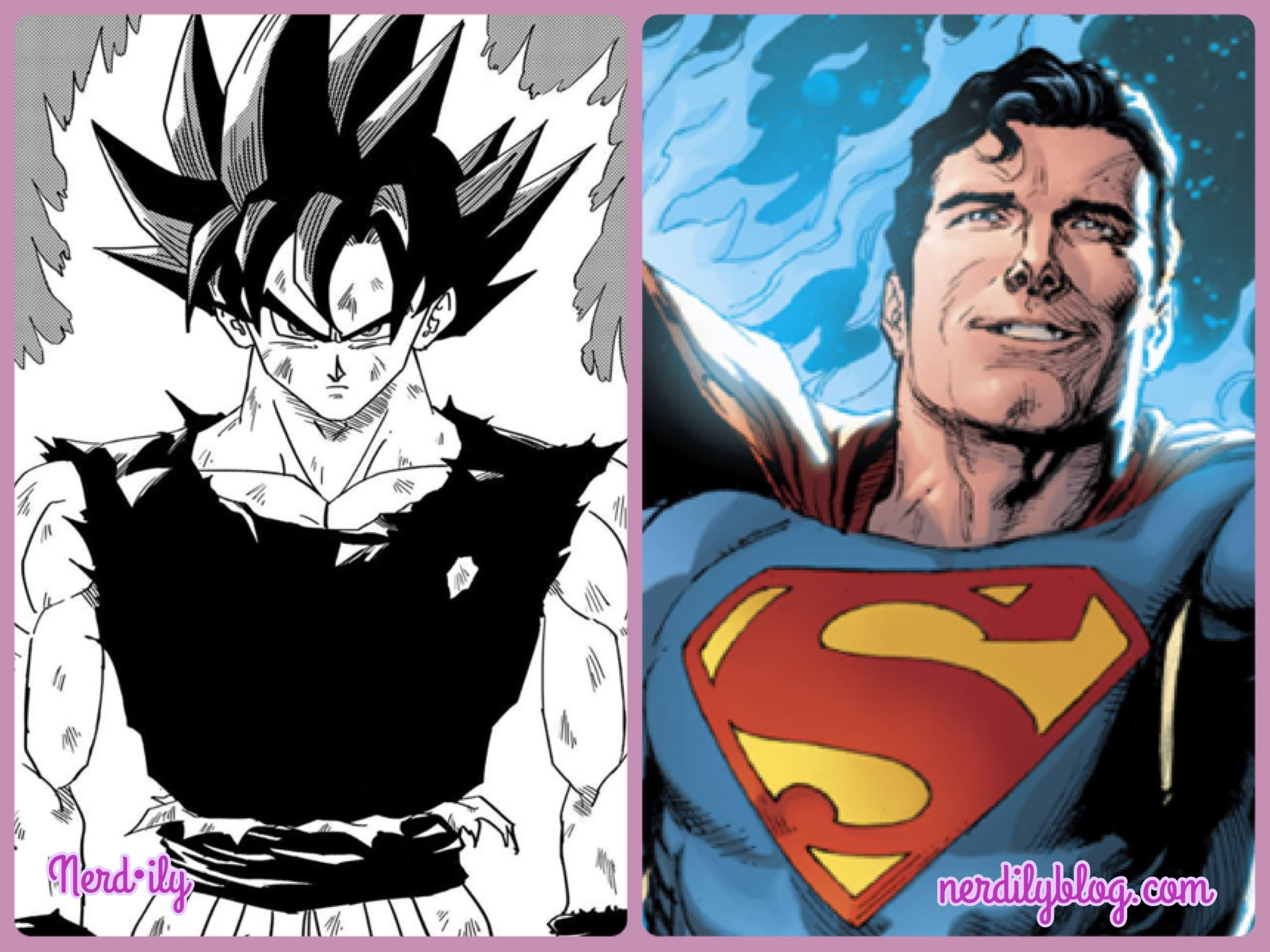 Goku from Dragonball Z next to Superman.