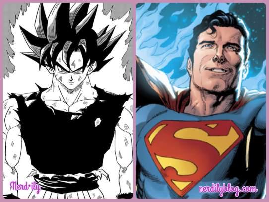 Goku from Dragonball Z next to Superman.