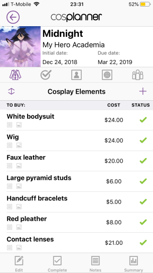 Screenshot from the CosPlanner app of a detailed shopping list for a Midnight cosplay.