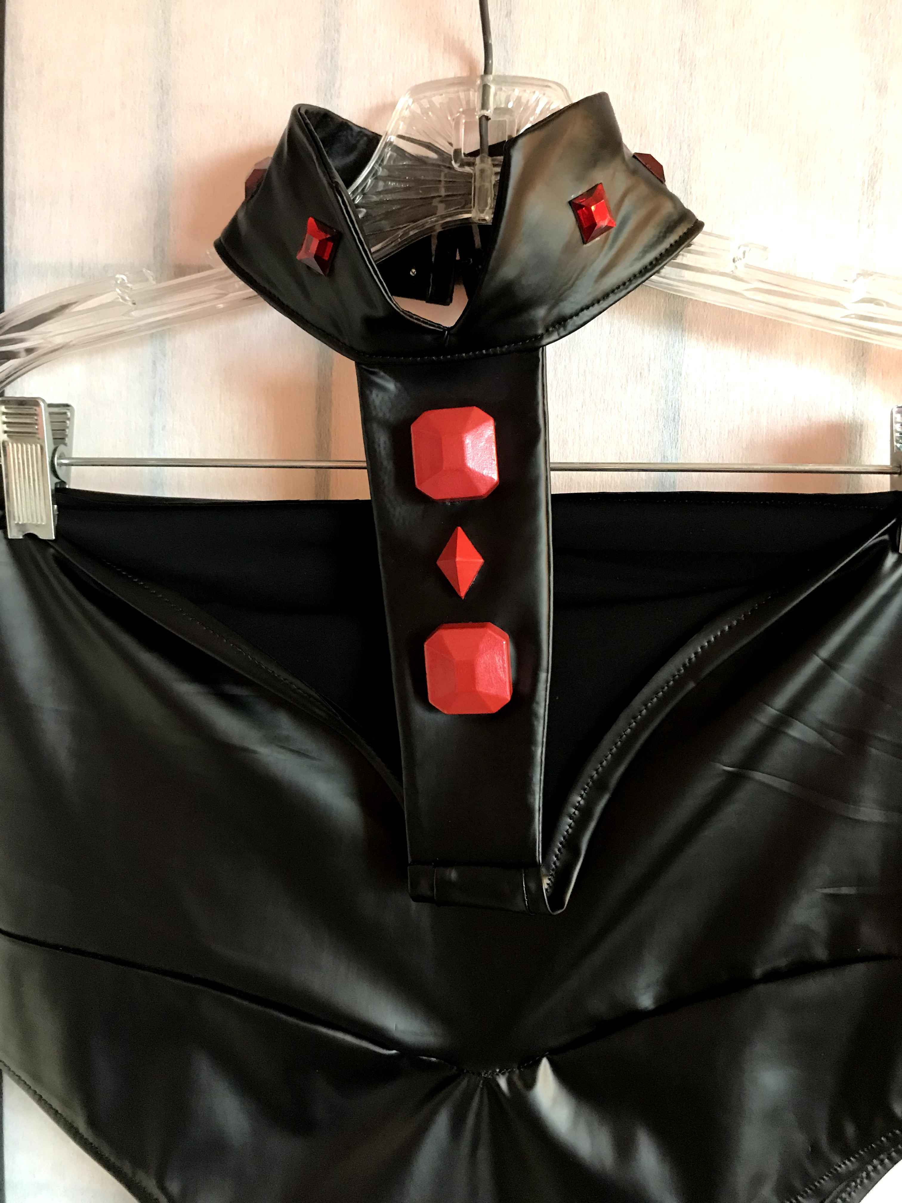 Close-up of the black bodysuit details for Midnight cosplay.